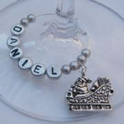 Santa Sleigh Personalised Wine Glass Charm